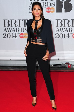 Nicole Scherzinger arriving for the 2014 Brit Awards at the O2 Arena, London.