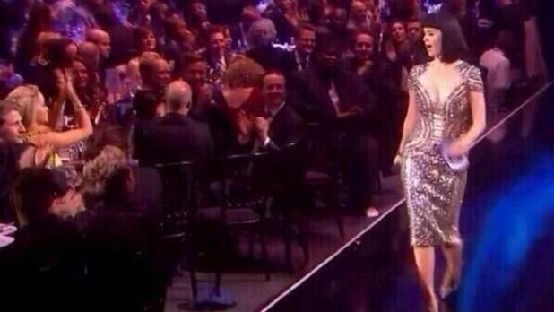 Katy Perry winks at Niall Horan at the Brits
