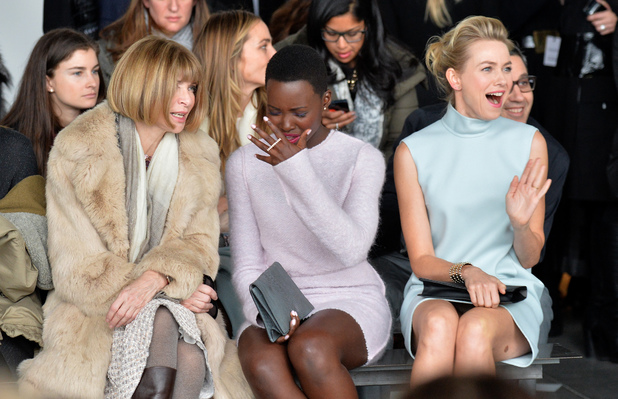 NEW YORK, NY - FEBRUARY 13: (L-R) Anna Wintour, Lupita Nyong'o, and Naomi Watts attend the Calvin Klein Collection fashion show during Mercedes-Benz Fashion Week Fall 2014 at Spring Studios on February 13, 2014 in New York City. (Photo by Larry Busacca/Getty Images for Mercedes-Benz Fashion Week)