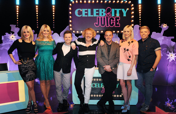 Ashley Roberts, Holly Willoughby, Declan Donnelly, Keith Lemon, Ant McPartlin, Fearne Cotton & Rob Beckett on the Celebrity Juice: Saturday Night Takeaway special