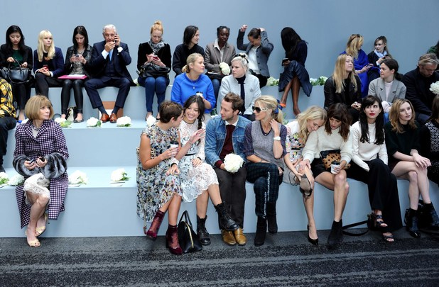 LONDON, UNITED KINGDOM - SEPTEMBER 16: Anna Wintour, Pixie Geldof, Daisy Lowe, Laura Bailey, Poppy Delevingne, Alexa Chung and Laura Carmichael attend the Erdem show during London Fashion Week SS14 at on September 16, 2013 in London, England. (Photo by Stuart C. Wilson/Getty Images)
