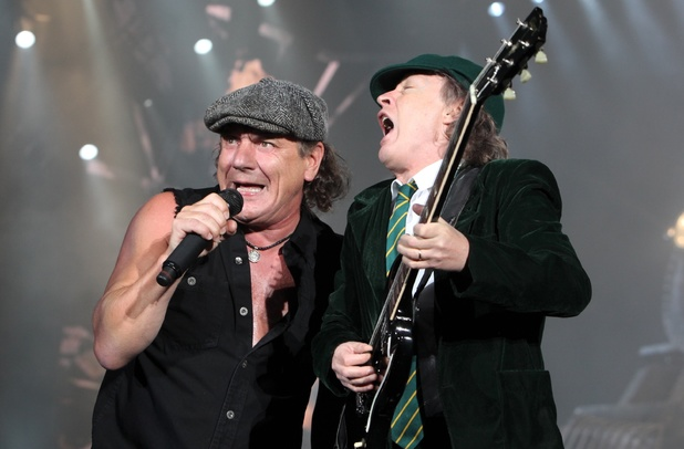 Brian Johnson and Angus Young of AC/DC performing in Vienna