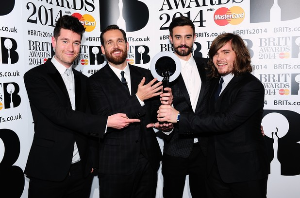 Bastille with the award for British Breakthrough Award in the press room at the 2014 Brit Awards at the O2 Arena, London.