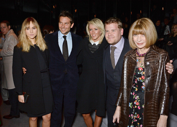 LONDON, ENGLAND - FEBRUARY 17: (L to R) Suki Waterhouse, Bradley Cooper, Julia Carey, James Corden and Anna Wintour attend the TOM FORD show at London Fashion Week AW14 at The Lindley Hall on February 17, 2014 in London, England. (Photo by David M. Benett/Getty Images)