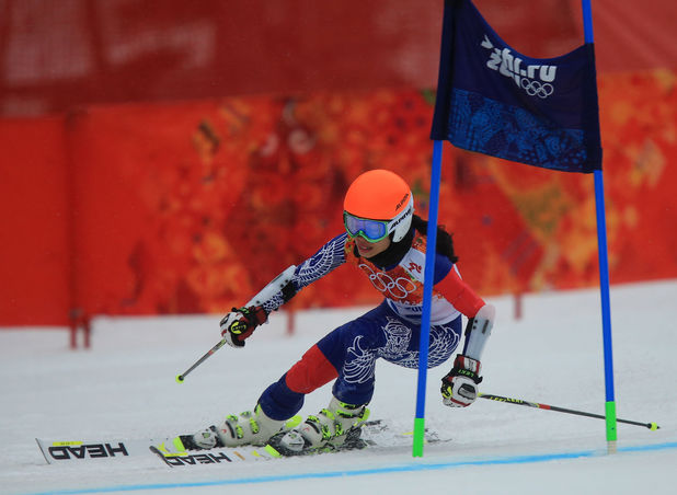 Vanessa Mae in the second run of the women's giant slalom at the Sochi 2014 Winter Olympics