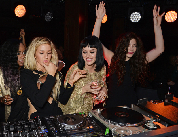 Ellie Goulding, Katy Perry and Lorde attend the Universal Music Brits' After Party At Soho House Pop-Up in London