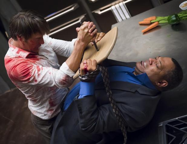 Mads Mikkelsen & Laurence Fishburne in Hannibal Season 2 Episode 1: 'Kaiseki'