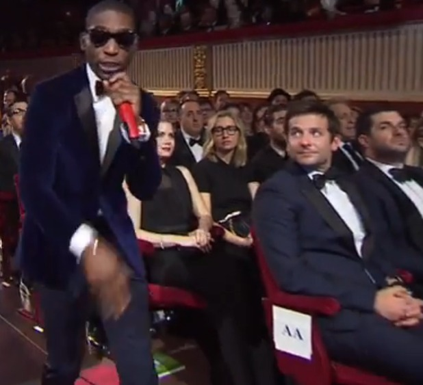 Bradley Cooper watches Tinie Tempah at the BAFTAs