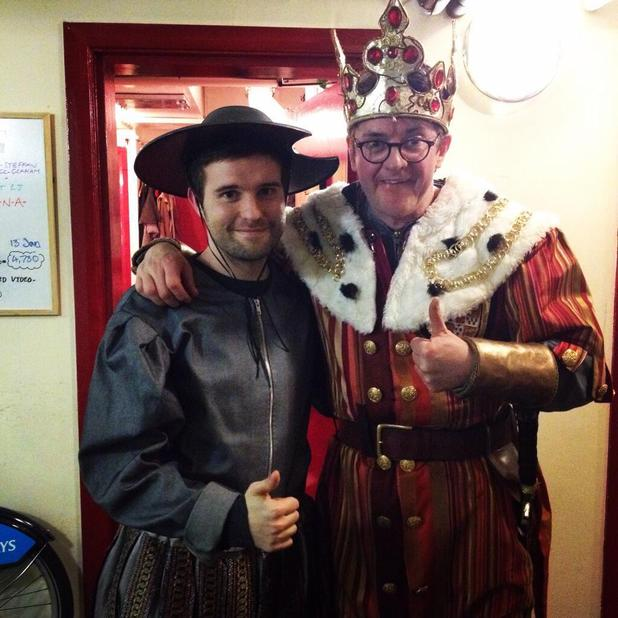 Tom in costume backstage with Joe Pasquale