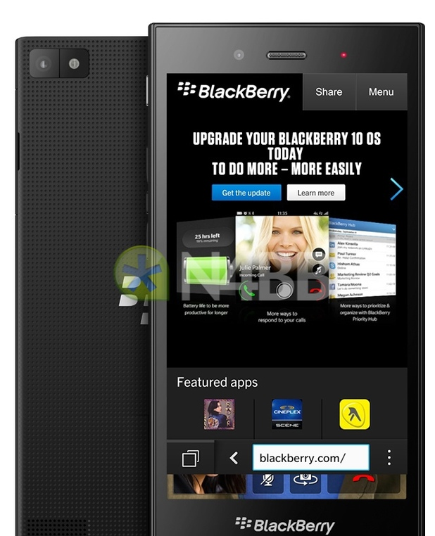 Render of the BlackBerry Z3 smartphone