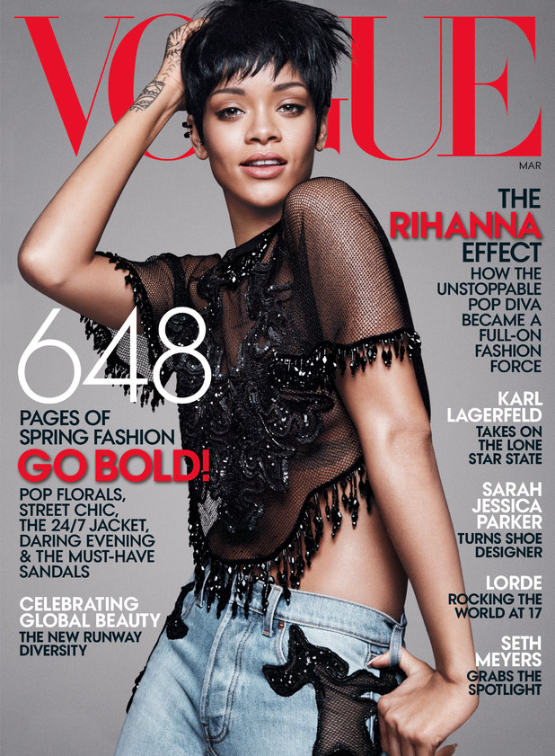 Rihanna on the March cover of Vogue