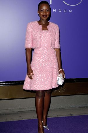 2013 EE BAFTA Nominees' Party at Asprey, London, Britain - 15 Feb 2014 Lupita Nyong'o pretty in pink chanel 15 Feb 2014
