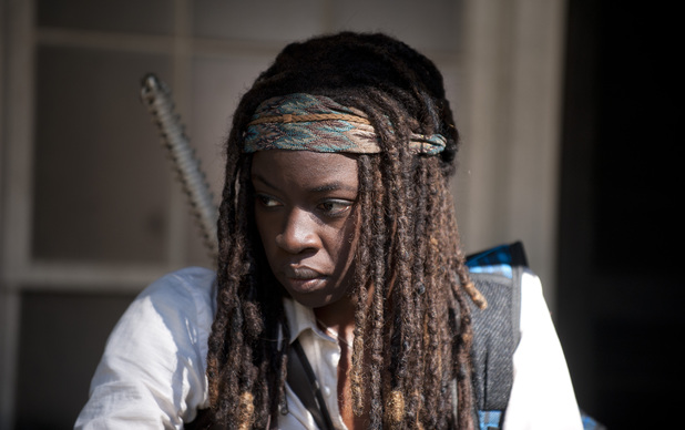 Danai Gurira as Michonne in The Walking Dead season 4 episode 11: 'Claimed'
