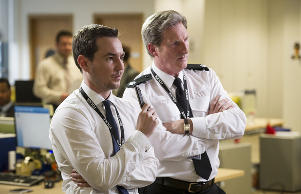Martin Compston as Detective Sergeant Steve Arnott & Adrian Dunbar as Superintendent Ted Hastings in Line of Duty episode 3