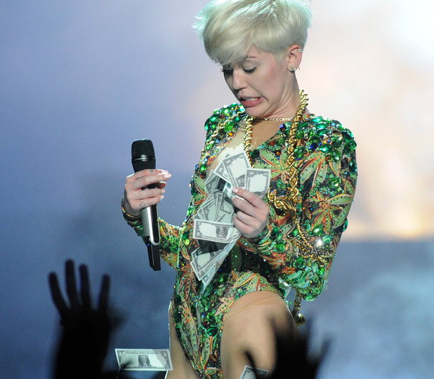Miley Cyrus in concert during her Bangerz Tour at Honda Center, Los Angeles, America - 20 Feb 2014