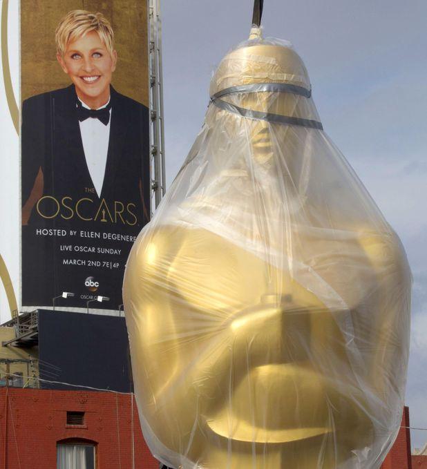 Oscars red carpet preparation Ellen statue