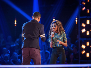 Femi Santiago and Iesher Haughton battle on The Voice