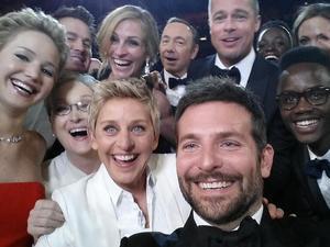 Ellen DeGeneres selfie with the stars at the Oscars