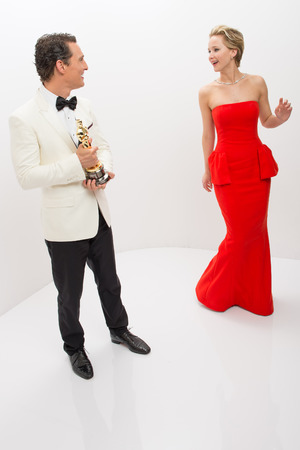 "A.M.P.A.S. After winning the category PerformanceA.M.P.A.S. After winning the category Performance by an actor in a Leading role for his role in ""Dallas Buyers Club"", actor Matthew McConaughey poses backstage with his Oscar® and presenter Jennifer Lawrence."