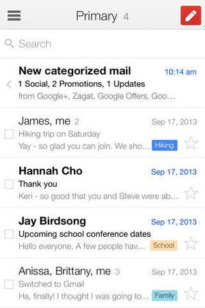 Gmail app for iOS 7