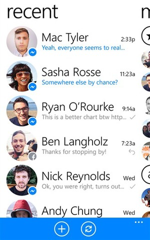Facebook Messenger app for Windows Phone