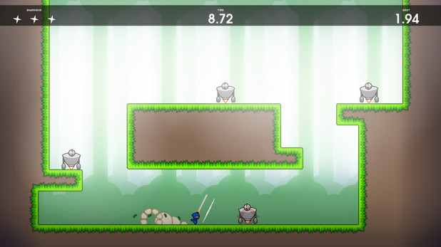 10 Second Ninja is a fast-paced action platformer