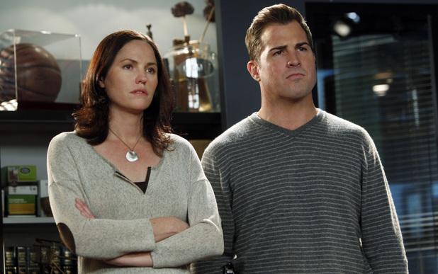 Jorja Fox and George Eads in CSI: Crime Scene Investigation