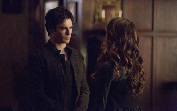 Ian Somerhalder as Damon and Nina Dobrev as Katherine in The Vamprie Diaries S05E15: 'Gone Girl'