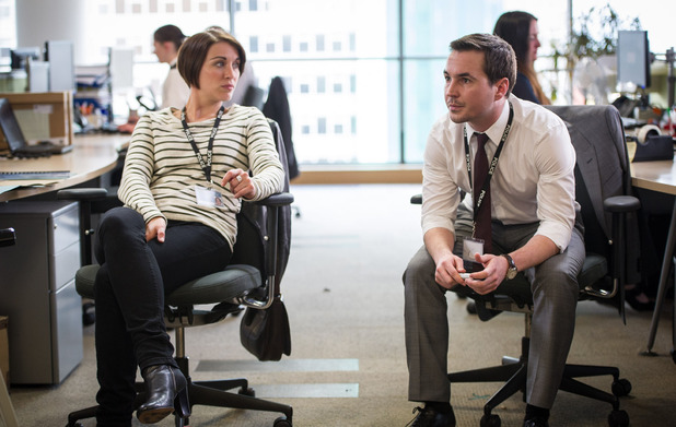 Vicky McClure as Detective Constable Kate Fleming & Martin Compston as Detective Sergeant Steve Arnott in Line of Duty episode 5