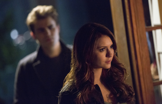 Paul Wesley as Stefan and Nina Dobrev as Elena in The Vampire Diaries S05E14: 'No Exit'