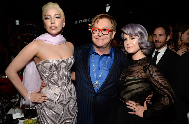 Lady Gaga, Sir Elton John & Kelly Osbourne at the 22nd Annual Elton John AIDS Foundation Academy Awards Viewing Party