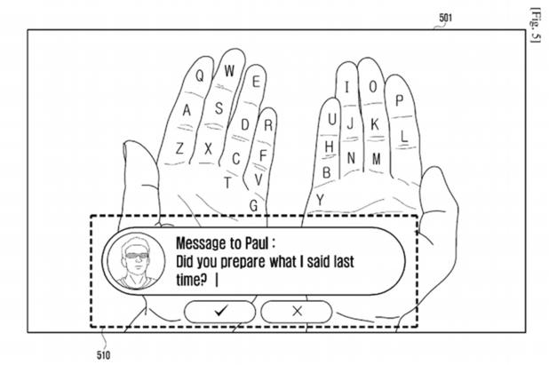 Samsung augmented reality hand keyboard