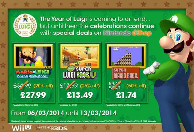 Luigi-themed Nintendo eShop discounts