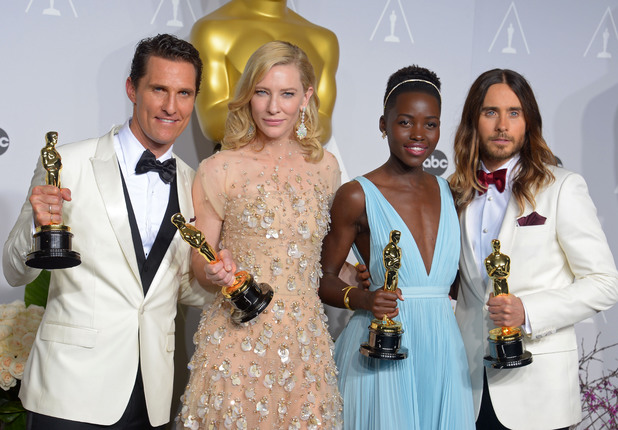 Matthew McConaughey, Cate Blanchett, Lupita Nyong'o and Jared Leto at the Oscars 2014