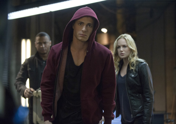 David Ramsey as John Diggle, Colton Haynes as Roy Harper, and Caity Lotz as Canary in 'Arrow' S02E15: 'The Promise'