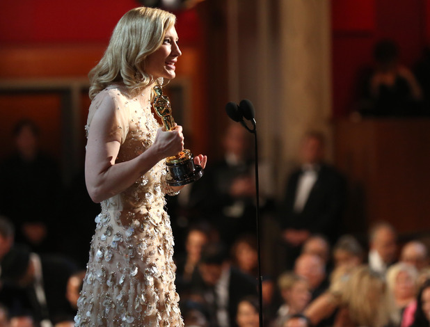"Cate Blanchett accepts the award for best actress in a leading role for ""Blue Jasmine"""