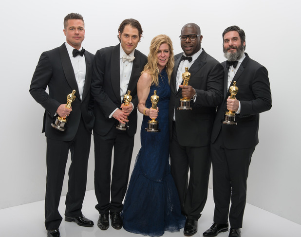 A.M.P.A.S. After winning the category Best motion picture of the year for '12 Years a Slave' producers Brad Pitt, Jeremy Kleiner, Dede Gardner, Steve McQueen and Anthony Katagas pose 86th Annual Academy Awards Oscars, Portraits, Los Angeles, America - 02 Mar 2014