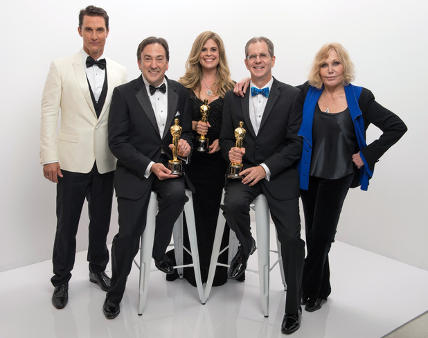 "A.M.P.A.S. After winning the category Best animated feature film of the year for work in ""Frozen,"" Peter Del Vecho, Jennifer Lee, and Chris Buck pose with their Oscars®, Matthew McConaughey, and Kim Novak"