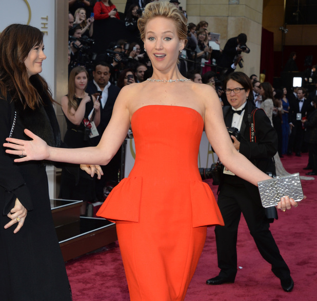Jennifer Lawrence pulls a face at the Oscars