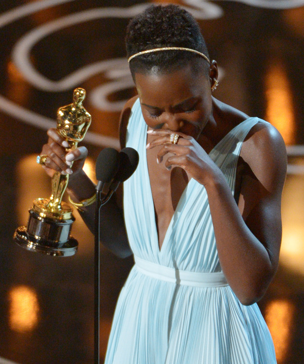 Lupita Nyong'o cries during her Oscar speech