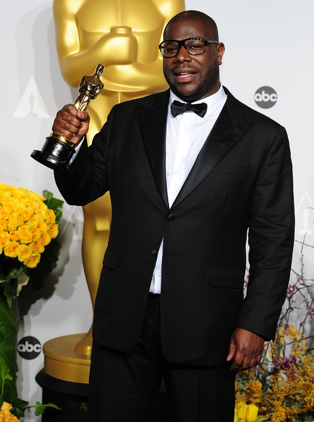 Director Steve McQueen with his Oscar for Best Film received for '12 Years a Slave'