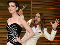 Dallas Buyers Club star plants a kiss on Hathaway after pranking her at Oscars bash.