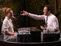 Jimmy Fallon plays a game of 'Water War' with actress on The Tonight Show.