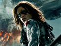 The artwork shows the film's villain the Winter Soldier played by Sebastian Stan.