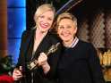 "Blue Jasmine star asks Ellen crowd: ""By the way, would anyone like to hold this?"""