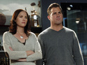 Jorja Fox and George Eads in CSI: Crime Scene Investigation