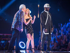 The Voice: Sir Tom Jones kisses Kylie Minogue at Knockouts - pictures