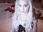 The singer dons the Mother of Dragons costume to celebrate Jewish holiday Purim.