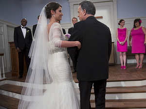 Cobie Smulders as Robin & Ray Wise as Robin Scherbatsky in How I Met Your Mother: 'The End Of The Aisle'