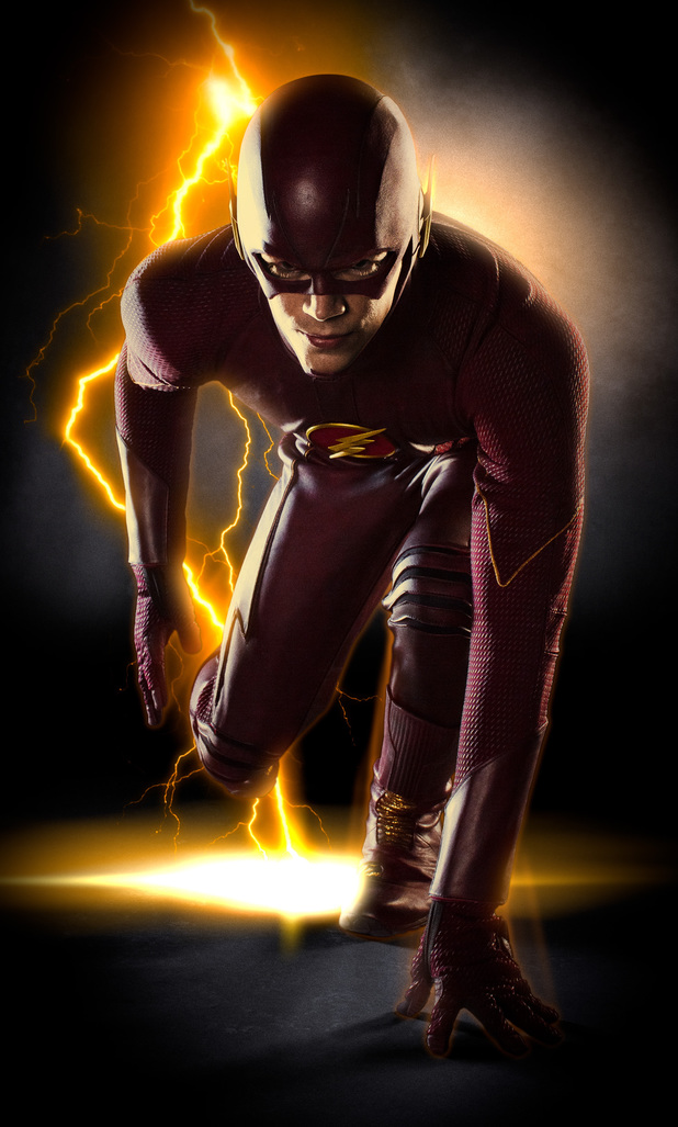 Grant Gustin in full costume as The Flash.